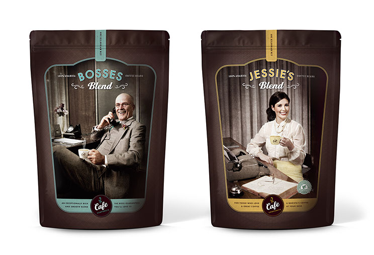 Fronts of coffee packaging design for Cafe Corporate's Bosses, and  Jessie's Organic Fairtrade by Dessein, Australia.