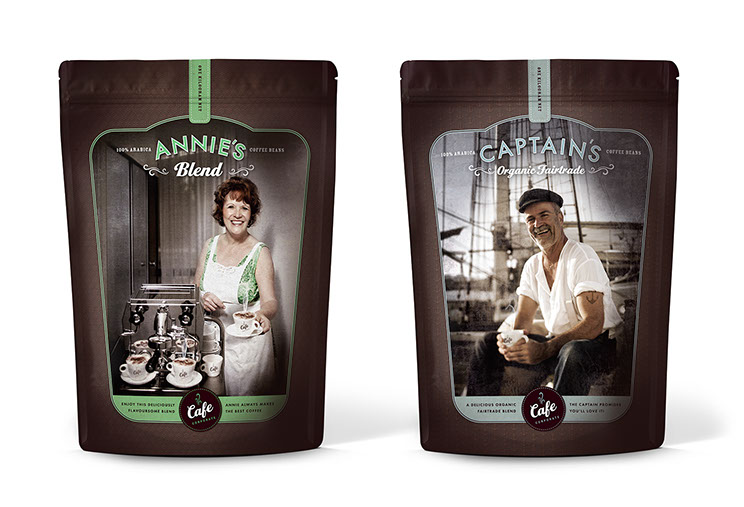 Fronts of coffee packaging design for Cafe Corporate's Annie's Blend and Captain's Organic Fairtrade by Dessein, Australia.