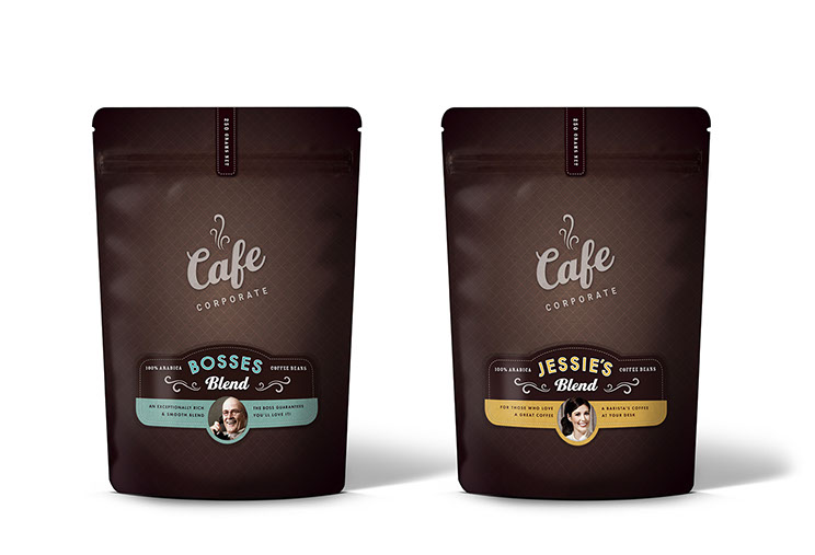 Backs of coffee packaging design for Cafe Corporate's Bosses and Jessie's Blend by Dessein, Australia.