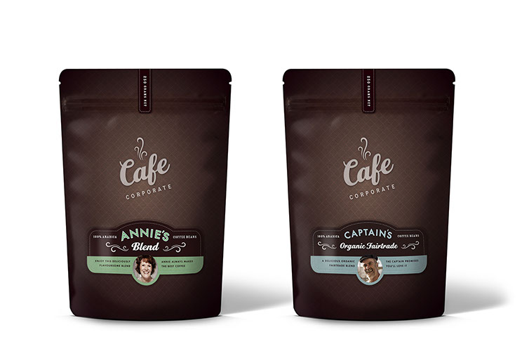 Backs of coffee packaging design for Cafe Corporate's Annie's Blend and Captain's Organic Fairtrade by Dessein, Australia.