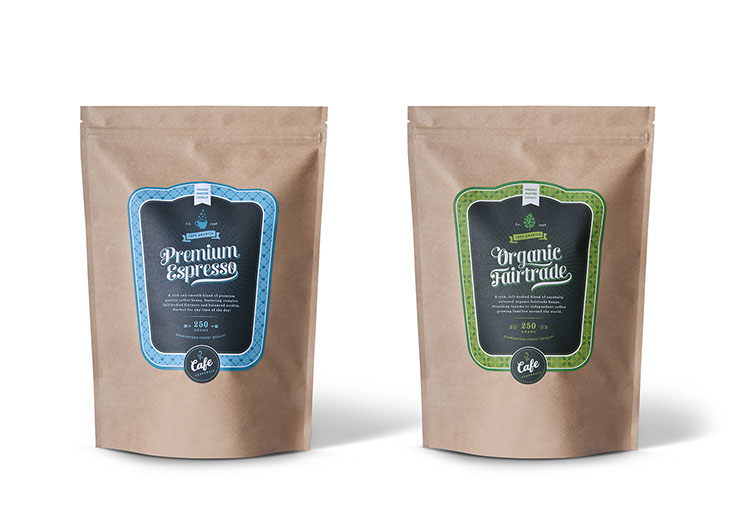 Packaging design for Premium Espresso and Organic Fairtrade coffee packaging Cafe Corporate by Dessein, Australia.