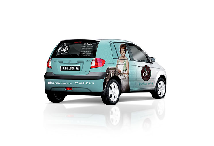 Vehicle signage design for Cafe Corporate by Dessein, Australia