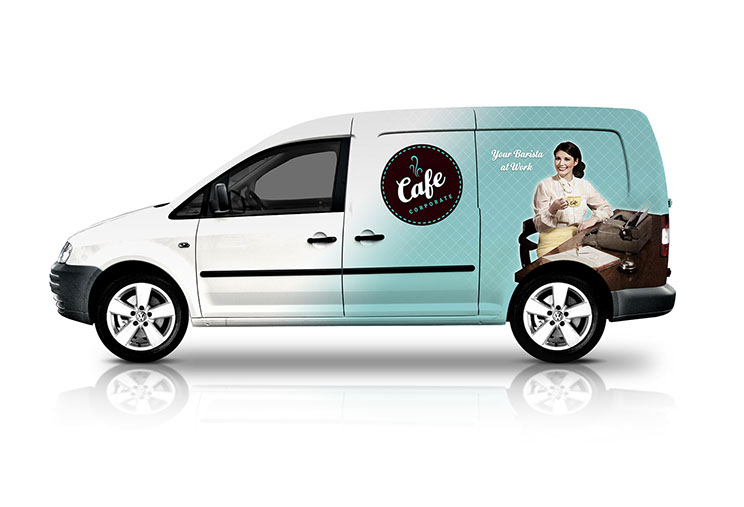 Vehicle signage design for Cafe Corporate by Dessein, Australia.