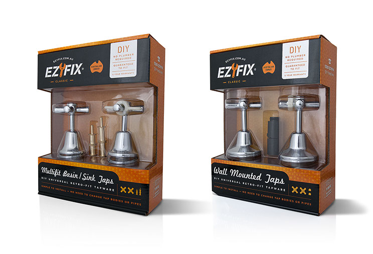 Ezyfix. Box and plastic molds tapware packaging design in orange, black and white. Design by Dessein, Australia.