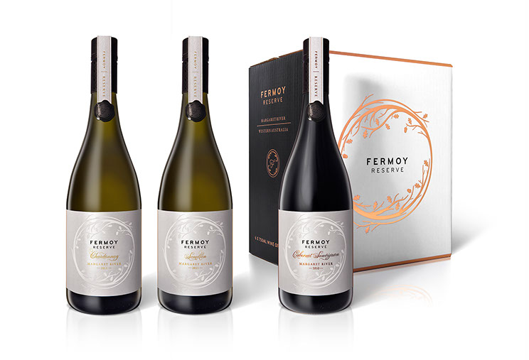 Fermoy Estate. Fermoy Estate Reserve wine labels and six-pack box in black and white with gold foil. Design by Dessein, Australia.