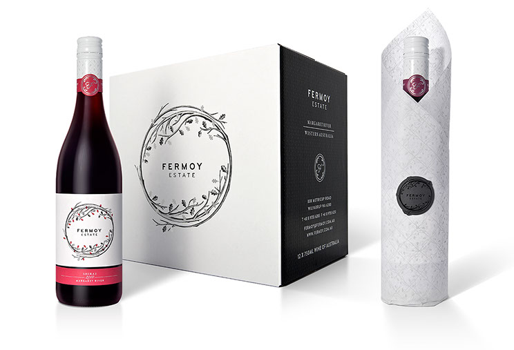Fermoy Estate. Beautiful design package combining wine label, 12-pack box and single bottle tissue wrapper. Design by Dessein, Australia.