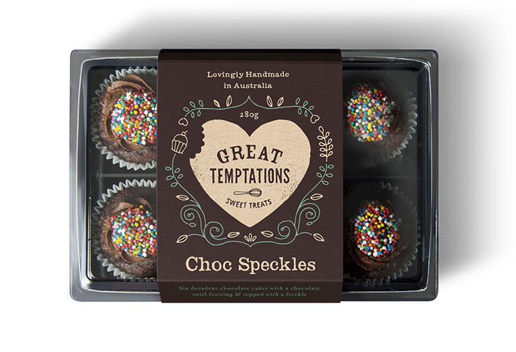 Great Temptations Sweet Treats Cupcakes packaging designs by Dessein, Australia.
