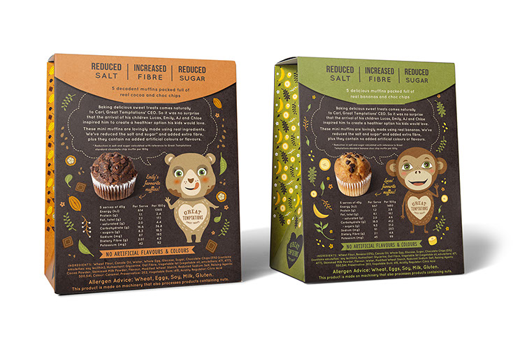 Front of package. Great Temptations Mini Muffins packaging designs by Dessein, Australia.