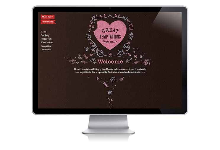Great Temptations Sweet Treats web design and production by Dessein, Australia.