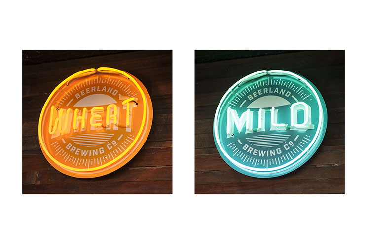 Northbridge Brewing Co. Indoor neon signage designs for different brands of beer, designed by Dessein, Australia.