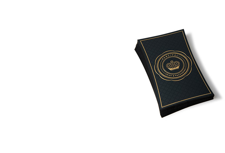 Percival Print & Packaging Business Cards designs with gold embossing by Dessein, Australia.