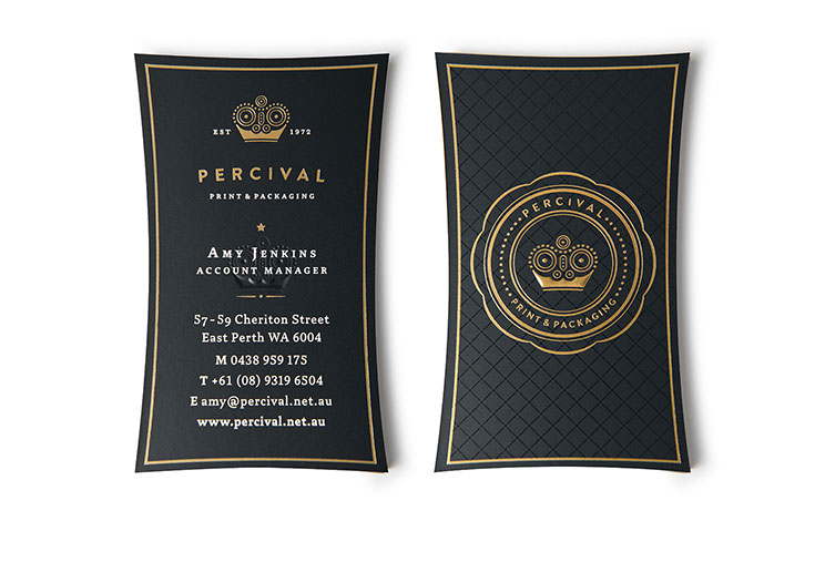 Front and Back. Percival Print & Packaging Business Cards designs with gold embossing by Dessein, Australia.