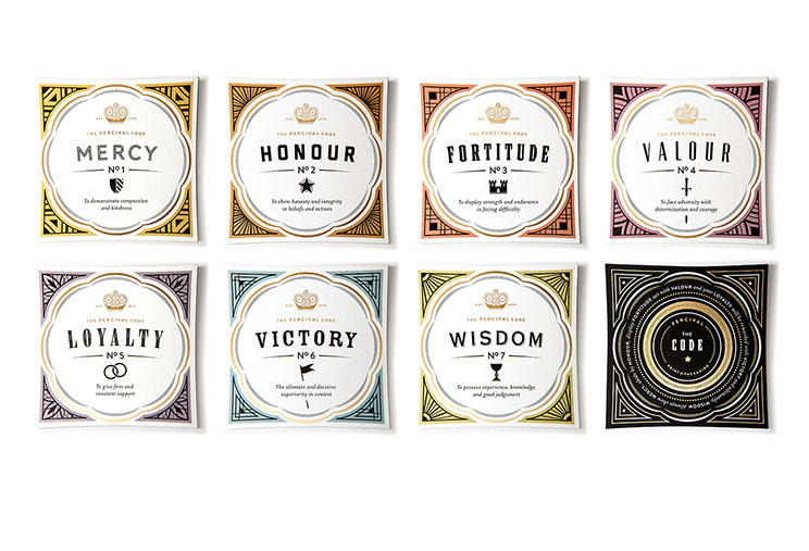 Coasters part of Percival Printing & Packaging boxed marketing kit designed with different elements by Dessein, Australia.