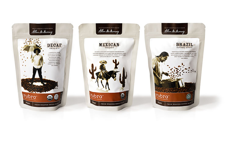 Rubra. Coffee inspired packaging designs for Jazz, Chantico and Sole coffee blends. Design by Dessein, Australia