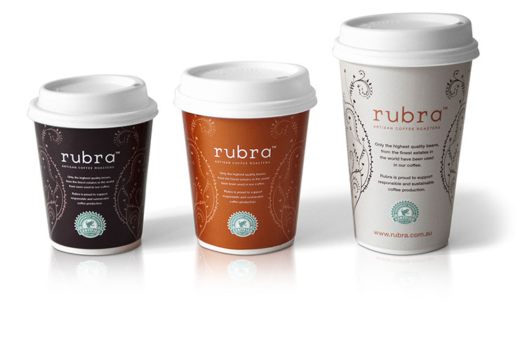 Rubra. Take-away coffee cup designs for small, medium, large sizes. Design by Dessein, Australia