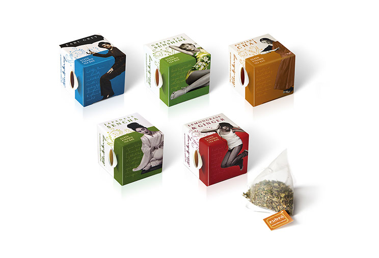 Rubra. Small colorful cubes for tea sample packaging for Earl Grey, Green Tea Sunshine, Punjabi Chai, Japanese Sencha, Lemongrass & Ginger. Desi