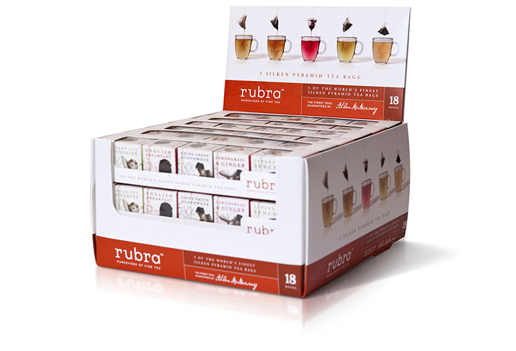 Rubra. Tea point of sale packaging for 18 boxed 5-packs of silken pyramid tea bags. Design by Dessein, Australia.