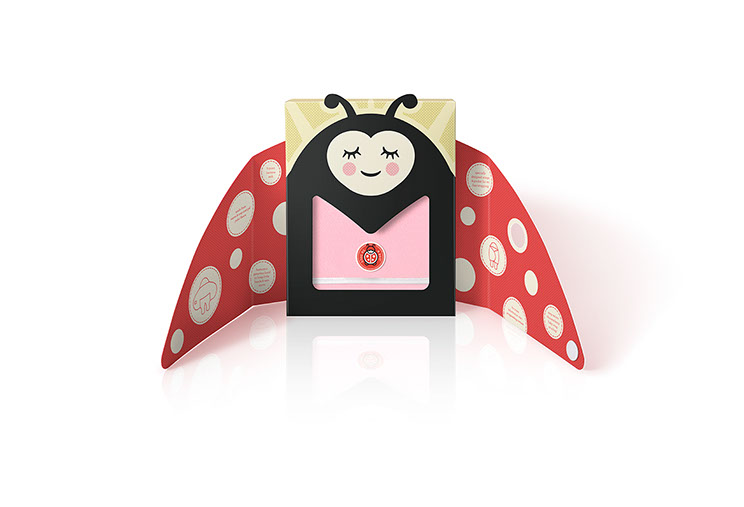 Universal Baby Wrap. Beautifully illustrated and wrapping style package designs, that open up into winged ladybug, by Dessein, Australia